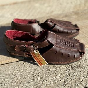 Chocolate brown soft genuine leather sandals